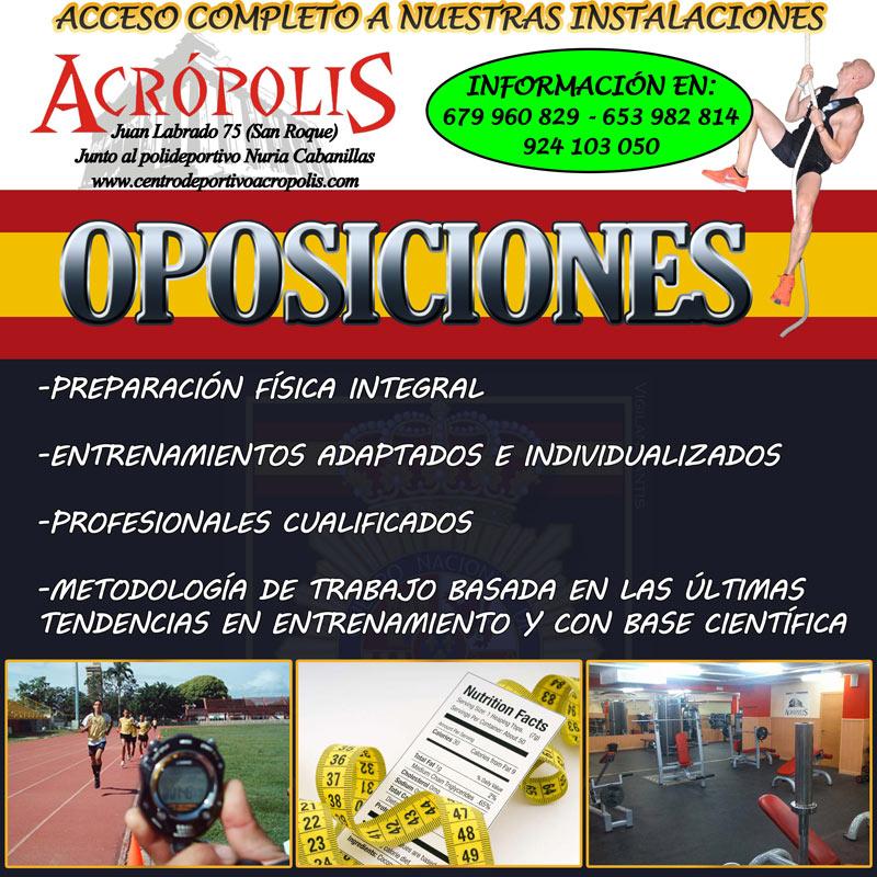 Oposiciones en gimnasio Centro deportivo Acrópolis Badajoz